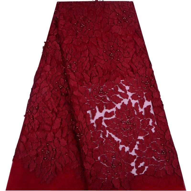 Red Color Beaded Applique Lace Fabric High Quality Latest African Lace 2018 Handmade 3D Lace Fabric