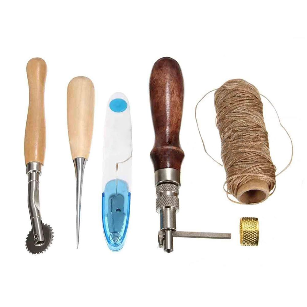 HOT GCZW-7Pcs Leather Craft Hand Stitching Sewing Tool Thread Awl Waxed Thimble Set Kit