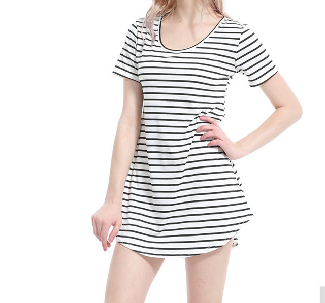 Summer Pregnant Women Female Teen Girls Sundress Black White Striped O Neck  Mini Casual Dress Brief Dress Clothes Robe Sexy