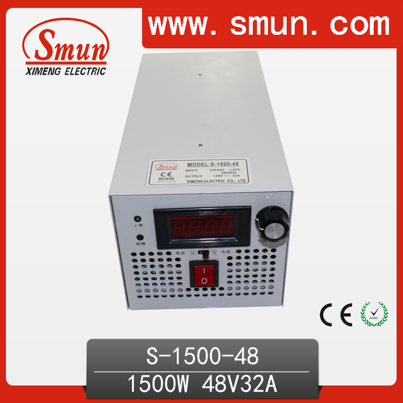 1500W 48VDC 32A Single Output AC-DC Switching Mode Power Supply With Input Plug Can Be Customized