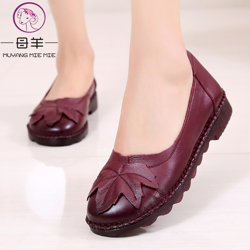 MUYANG MIE MIE Women Shoes Woman Genuine Leather Flat Shoes Fashion Leather Loafers Female Casual Shoes Women Flats muyang women flats 2018 genuine leather ballet flats female casual flat shoes women loafers soft comfortable women shoes