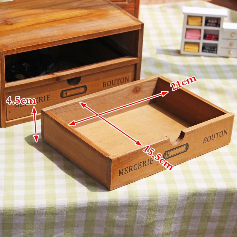 Rangement maison & Organization décoration bois boîte à cosmétiques Vintage en bois mallette de rangement tiroir maquillage boîte boîtes de rangement fournitures - 3