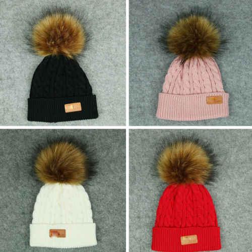 PUDCOCO أحدث طفل الاطفال الطفل بوي فتاة قبعة الشتاء الراكون الفراء بوم قبعة متماسكة قبعة تزلج دافئ مزركشة القبعات