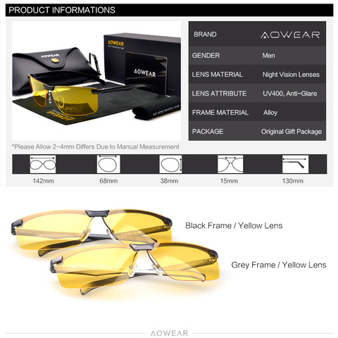 AOWEAR HD Night Vision Glasses for Night Driving Safety Car Driver Goggles Anti-Glare Yellow Sunglasses Men Polarized Eyewear Multan