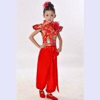Children Chinese Red Costumes Dancewear Yangko Dance Costumes Girls Chinese Folk Dance Clothes