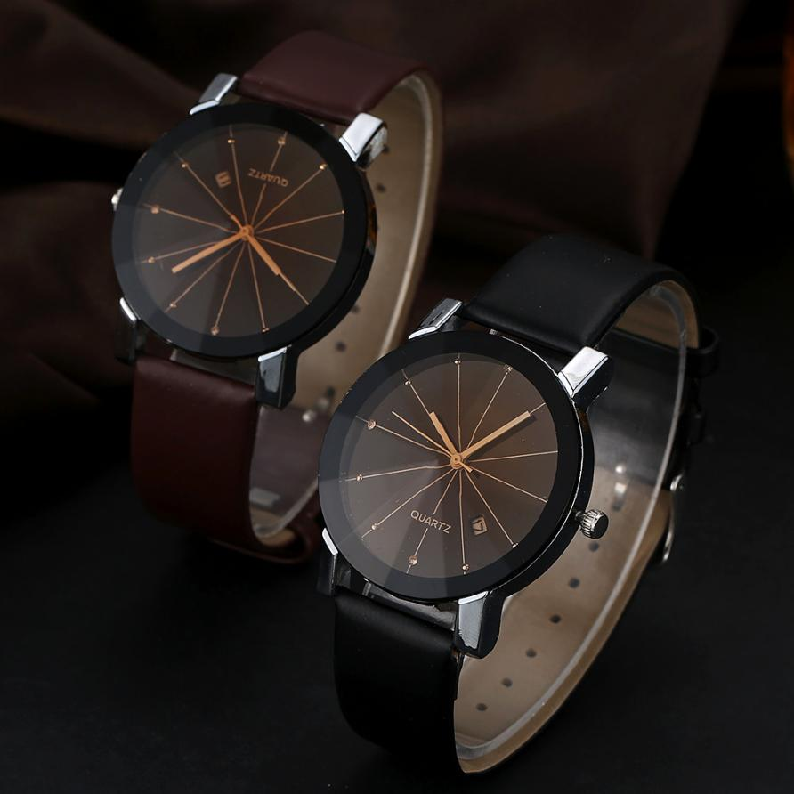 2Pcs/Pair Couple Watches Man Luxury Stainless Steel Quartz Wrist Watch Women Date Sport Fashion Leather Band Gift For Lovers' fashion couple s stainless steel digital quartz wrist watches silver white 1 x 377 2 pcs
