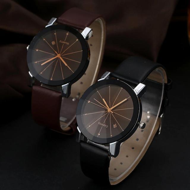 2Pcs/Pair Couple Watches Man Luxury Stainless Steel Quartz Wrist Watch Women Dat