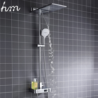 hm Digital Thermostatic Shower Set Button Mixing Valve with Display Bathroom Multifunction Waterfall & Rainfall Shower System