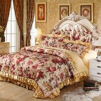 Bloem Europa jacquard satijn katoen beddengoed set queen kingsize 4 st of 6 stks bed set (dekbedovertrek + gewatteerde sprei + kussenslopen)