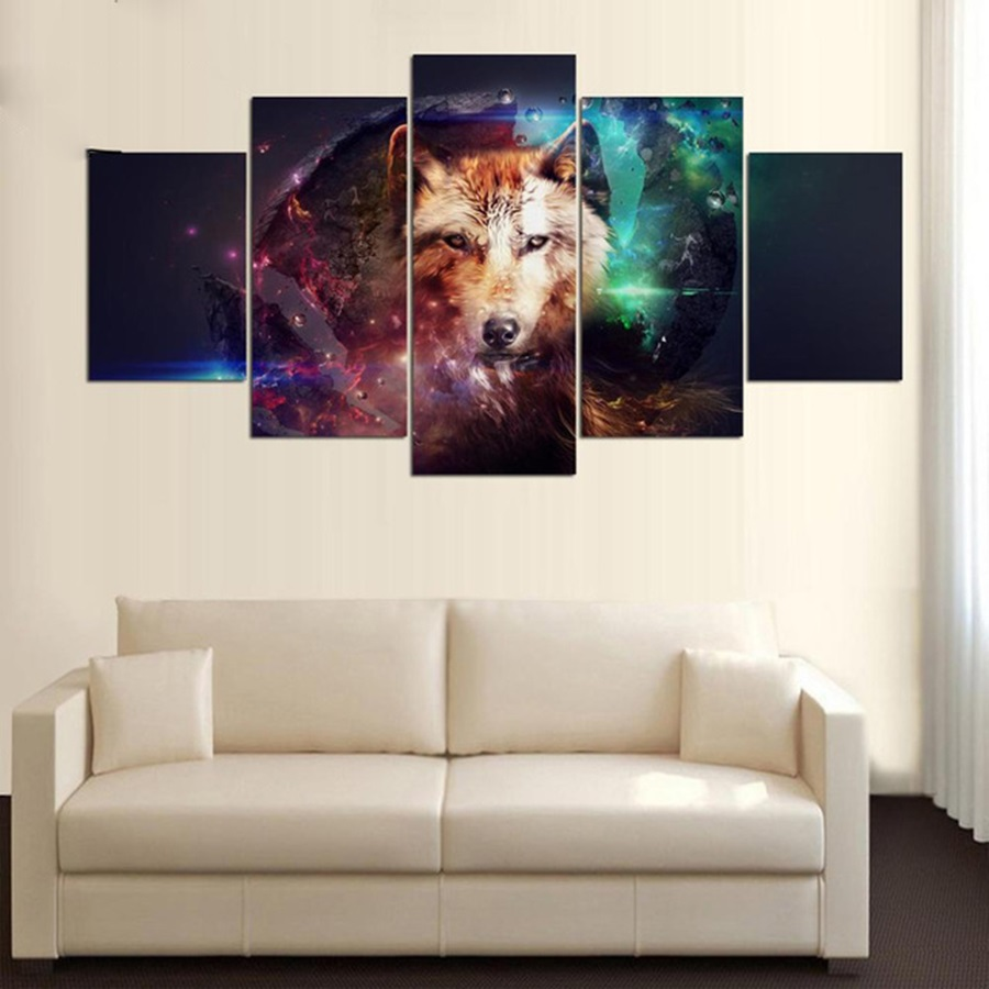 Framed 5 Panels Poster Watercolor Wolf Canvas Paitning Animal Modular Wall Art Pictures for Living Room Modern Home Decoration