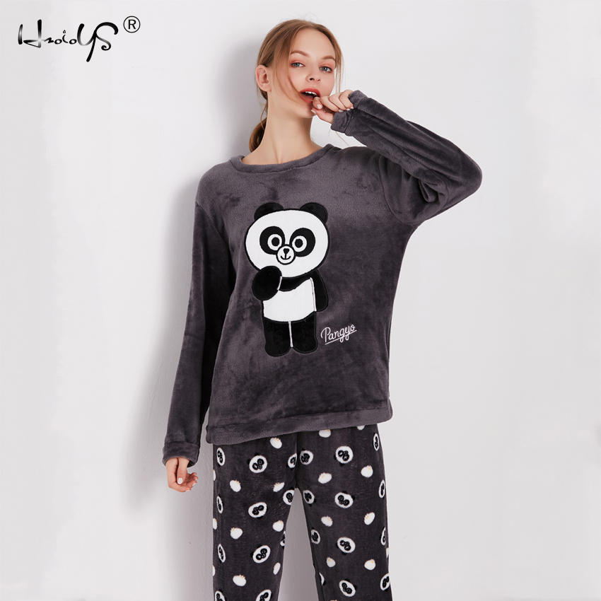 Cartoon Panda and Letter Pajama Sets Sleepwear Women Winter Flannel Plus Size Full Length Warm Party Pyjamas Sleepwear For Women