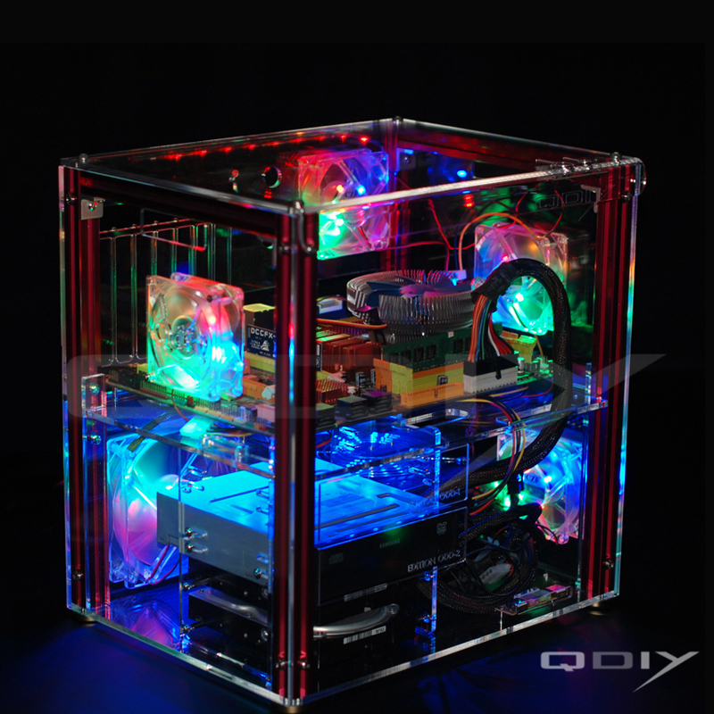 QDIY PC-C004 Full Transparent Acrylic Personalized Water Cooled Computer Case qdiy fz tm80c personalized computer case 80mm matte transparent colored lamp cooling fan