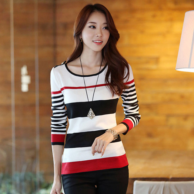 New 2016 Spring Autumn women sweater casual Slim Red Black Stripes Blue Black Stripes S M L XL bottoming pullover