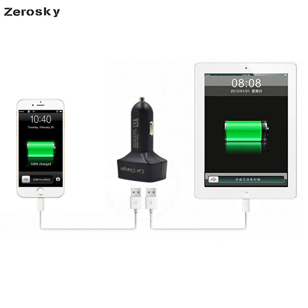 Zerosky Dual USB Car Charger 4 in 1 Thermometer Digital Display Charging Cigarette Lighter Car Charger For Mobile Phone in Car Chargers from Cellphones Telecommunications