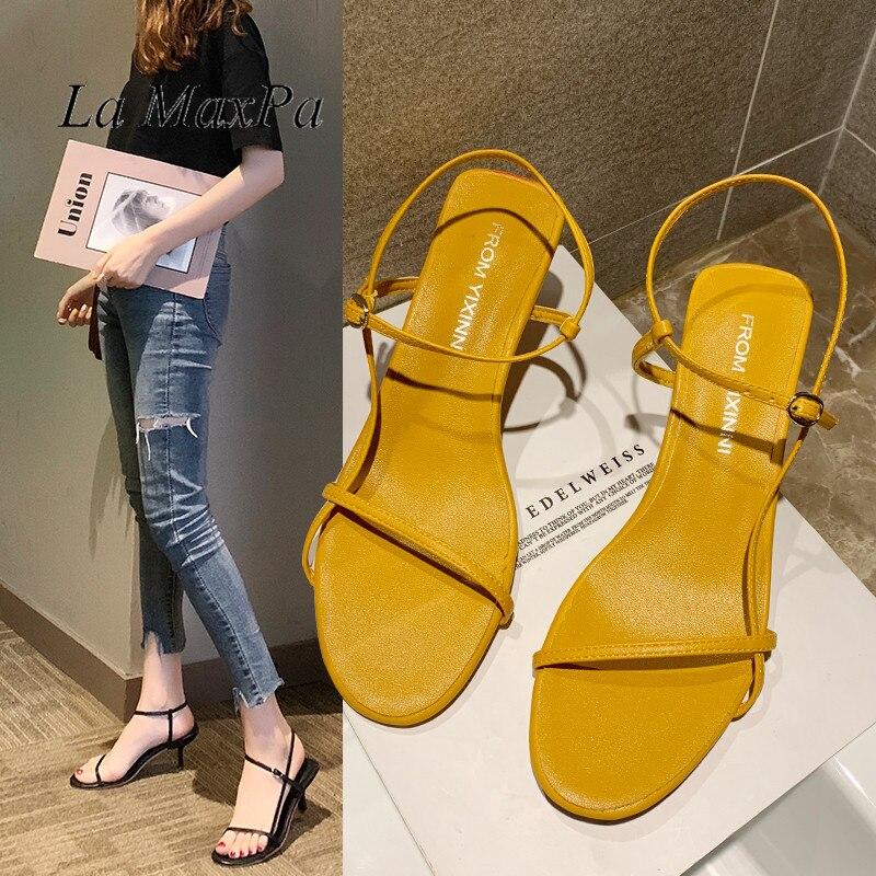 Yellow Thin Heel Ladies Sandals Leisure Bind Beach Shoes Fashion High Heels Shoes 2019 Women Sandals Leather Mid Heels Summer