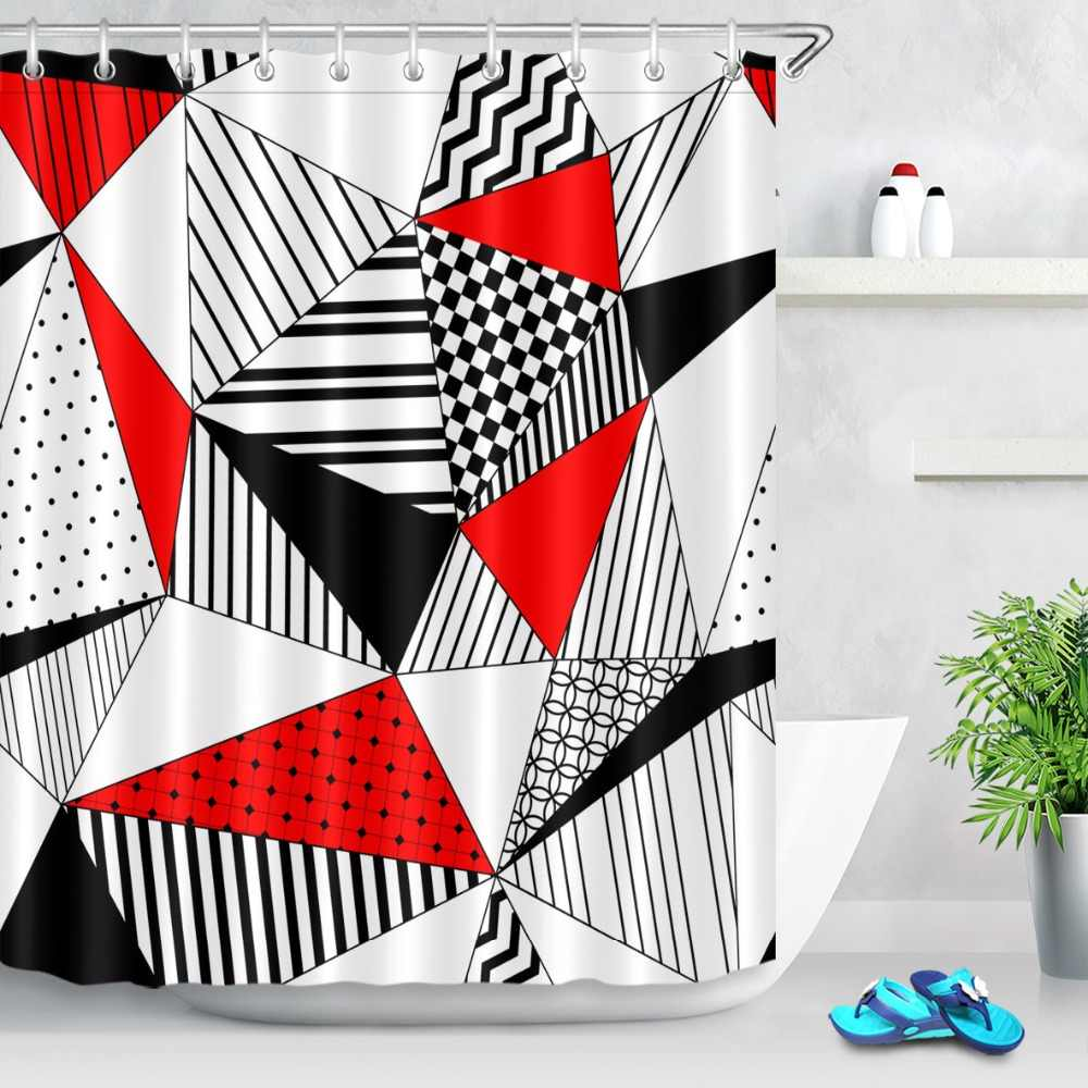 72 black white red abstract geometric pattern bathroom waterproof fabric shower curtain polyester 12 hooks bath accessory sets