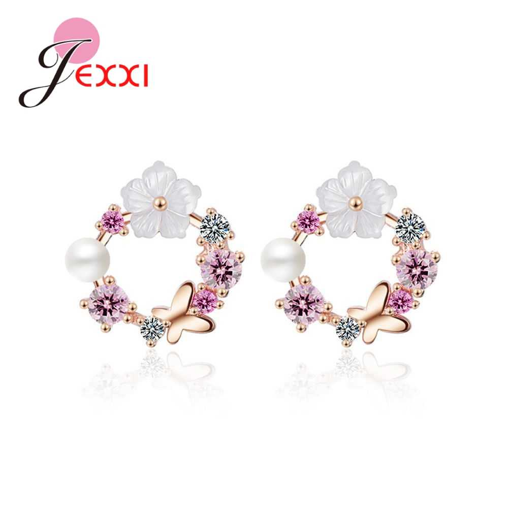 Romantic Wedding Gfits For Bridal Women Genuine 925 Sterling Silver  Pearls Daisy Design Round Stud Earring Jewelry