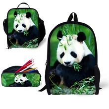 Panda School 3pcs/set 17 inch Book Bag with Pencil Case and Lunch for Age 6-15 Students Kids Boys Girls Bagpack Design