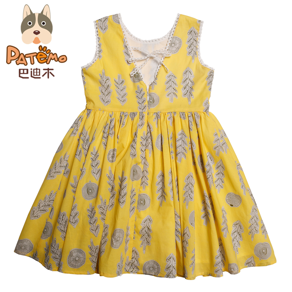 Patemo Girls Dress Girls Cotton Dresses Yellow Flower Girl Dresses