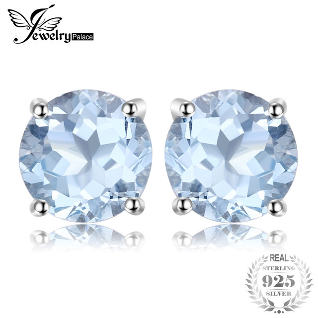 JewelryPalace Round 2ct Natural Sky Blue Topaz Birthstone Stud Earrings Genuine