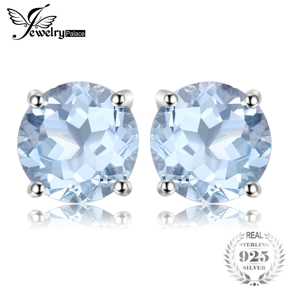 JewelryPalace Round 2ct Natural Sky Blue Topaz Birthstone Stud Earrings Genuine 925 Sterling Silver Fine Jewelry For Women