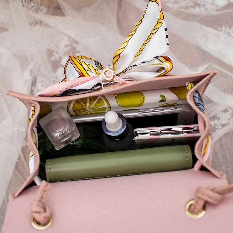 Ocasional saco do mensageiro das mulheres de couro PU cor sólida lenço de seda bolsa de ombro da forma saco de viagem portátil