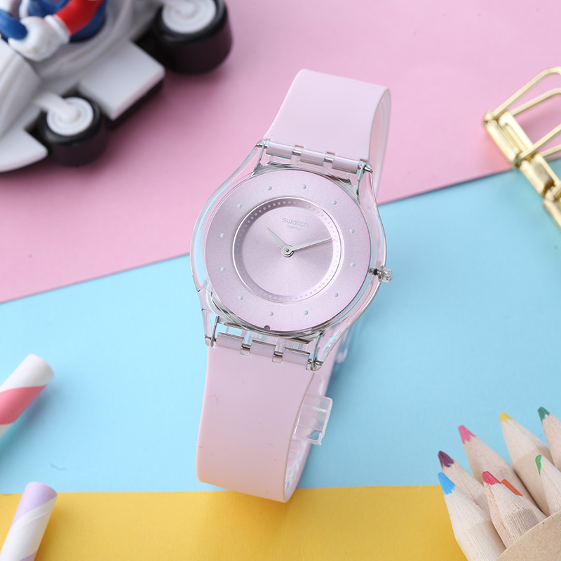 Swatch watch SKIN series romantic pink dot marker quartz watch SFE111 swatch swatch watch jelly timing series multi function chronograph quartz watch susb412