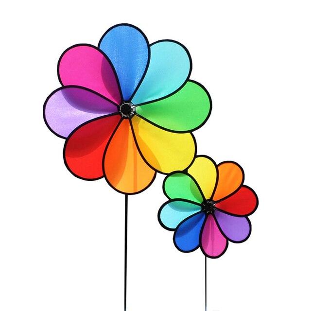 Hot Toy Windmill Rainbow Garden Wind Spinner Flower Windmill For Kids Gift  Outdoor Fun