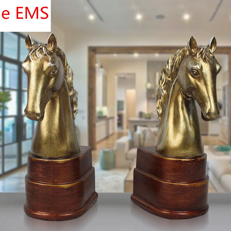 Retro Simulation Gold Horse Head Book End Animals Statue Colophony Crafts Home Desktop Decorations Office Resin Gift L1837