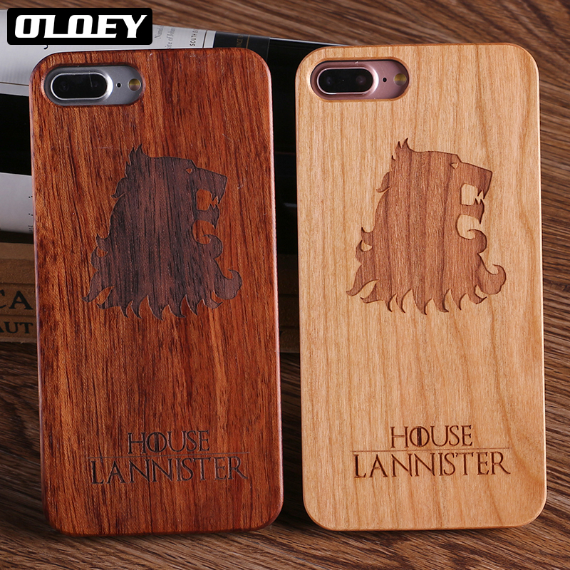 OLOEY For iPhone 6 6S 6Plus 8 8Plus X <font><b>Game</b></font> <font><b>Thrones</b></font> Real Wolf Printed Wood <font><b>Phone</b></font> <font><b>Case</b></font> For SAMSUNG Galaxy <font><b>S7</b></font> Edge S9 S9 Plus
