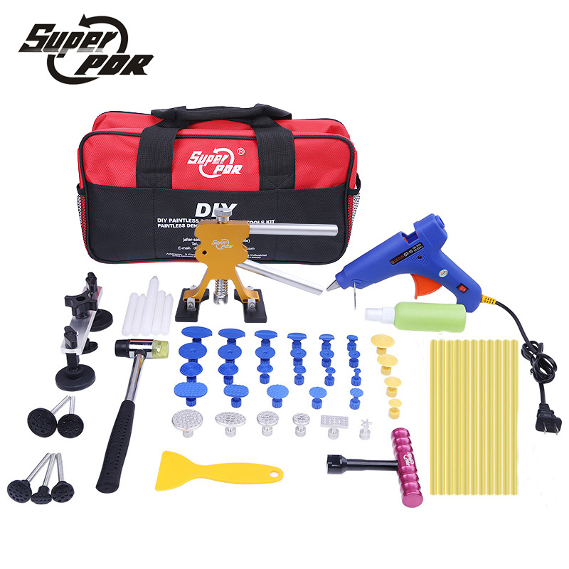 Super PDR car body dent removal tools Pulling Bridge Dent Puller Glue Gun metal tabs Paintless Dent Repair tools kit super pdr car dent repair tools pulling bridge glue puller glue gun dent tabs hand tool set 39pcs dent removal tools kit