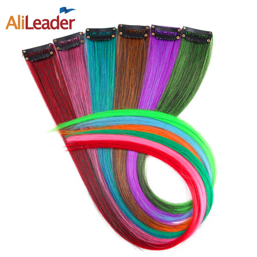 Alileader Ombre Clip In One Piece Gray Purple Yellow Red Hairpieces For Women Multicolor False Hair Synthetic Hair Extensions