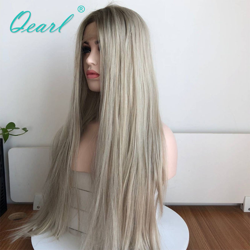 Human Hair Straight Full Lace Wig Ombre Blonde Grey Color Brazilian Remy Hair Wig With Baby Hairs Middle Part Pre Plucked Qearl