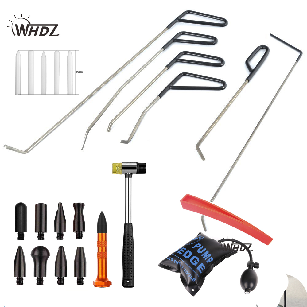 WHDZ Paintless Hail Repair Tools Dent Rods PDR Dent Ding Removal Puller Tools + Tap Down Hammer Down Knock Tool PDR Tools adjustable pdr repair tools set tap down 9heads rubber hammer paintless dent tool multi function rubber hammer