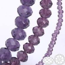 купить OlingArt 3/4/6/8/10mm Round Glass Beads Rondelle Austria faceted crystal violet color Loose bead 5040 DIY Jewelry Making дешево