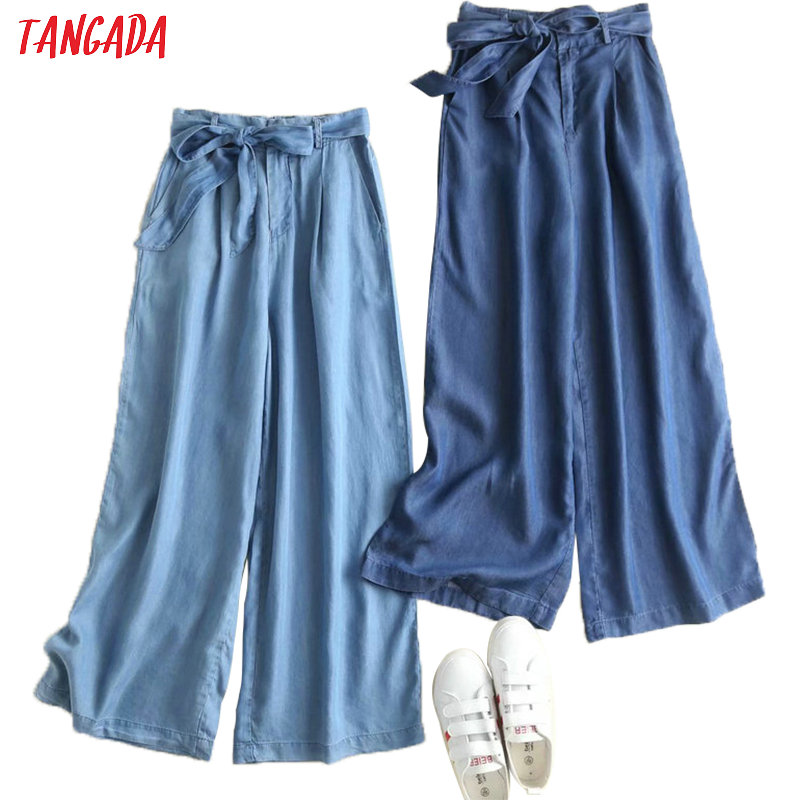 Tangada Women Loose Denim Jeans Wid Leg Pants Bow Tie Sashes Pockets Ladies Casual Stylish Streetwear Trousers Mujer 2P08