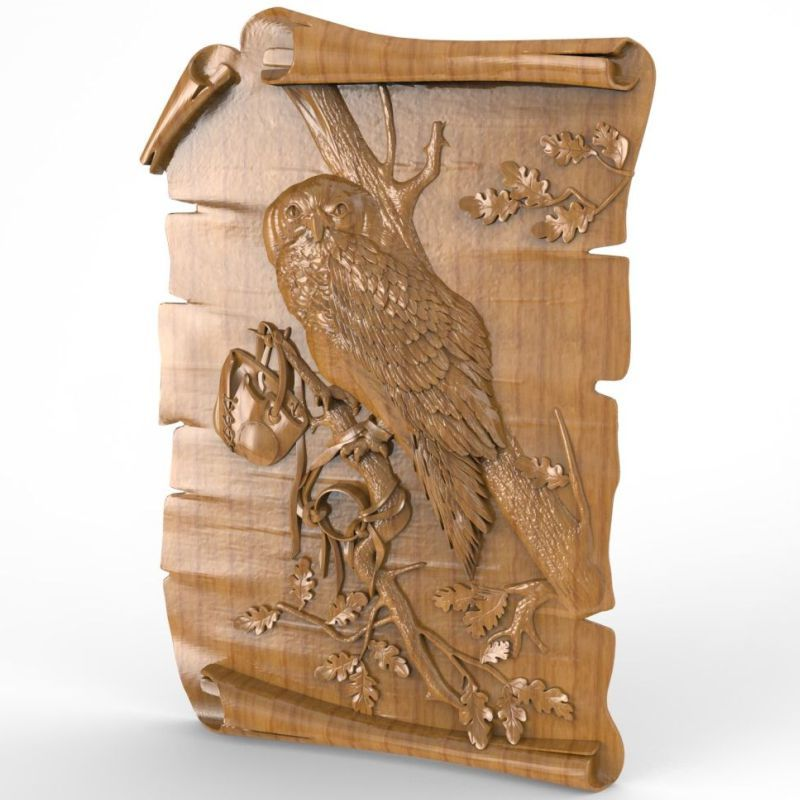 Owl 3D Model STL relief for cnc STL format Furniture Owl 3D STL format furniture decoration model relief for cnc in stl file format 3d panno bird 1