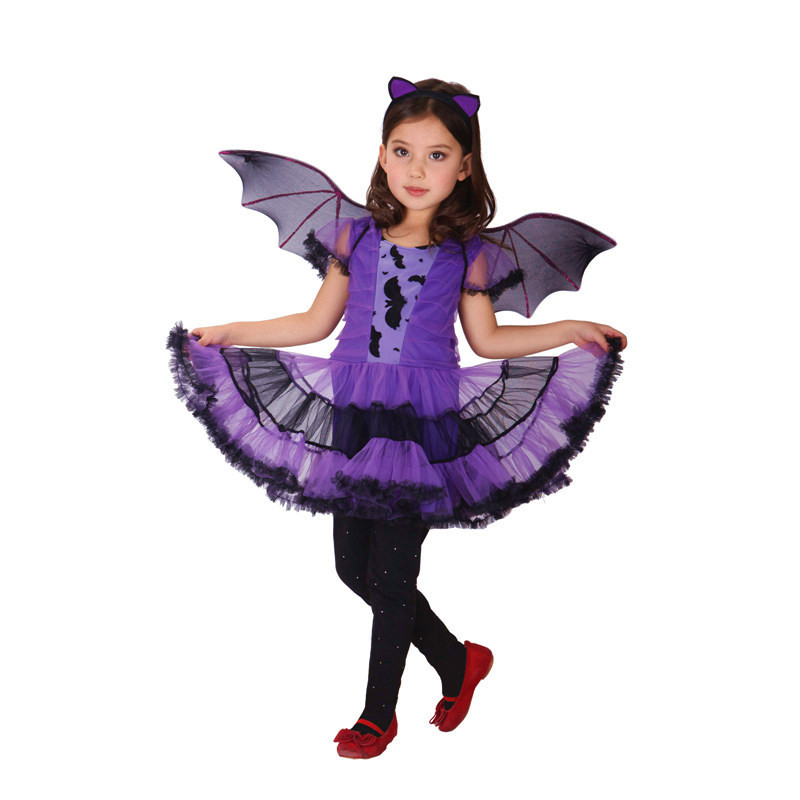 Halloween Vampire Costume Kids.Us 18 05 14 Off M Xl Fantasia Girls Halloween Vampire Costumes Kids Bat Cosplay Children S Day Masquerade Stage Show Carnival Masked Ball Dress In