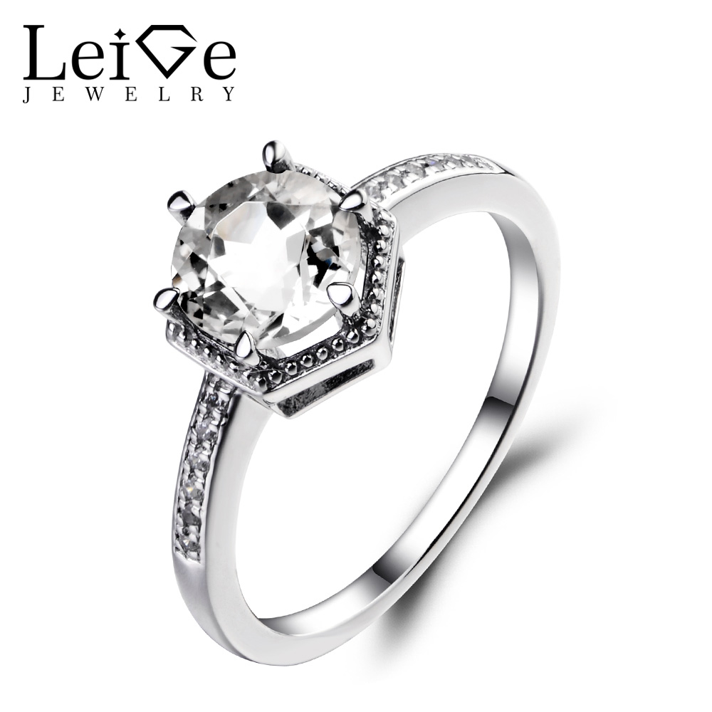 Leige Jewelry Natural White Topaz Ring Sterling Silver 925 Fine Jewelry Round Cut Gemstone Wedding Engagement Rings for Women helon sterling silver 925 flawless 8mm round 2 4ct natural white topaz engagement wedding ring for women trendy fine jewelry