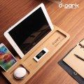 Natural Bamboo Wood Phone Stand Storage Holder for Apple Watch / iPad Air / iPad 4 / iPad Mini 2 / iPhone 6 / iPhone 6 Plus