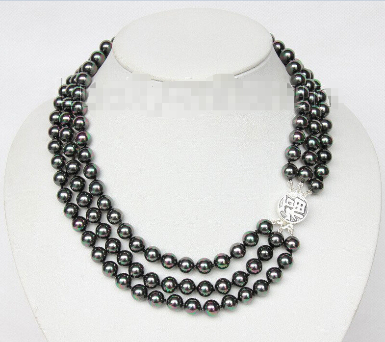 Free Shipping 16 3row 8mm round peacock black sea shell pearl necklace 925 silver clasp j9579