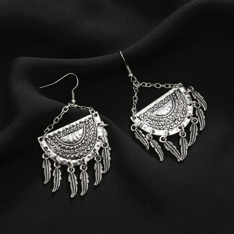 Bohemian Drop Earrings Fashion Boho Drop Long Tassel Earrings For Women Jewelry Vintage Silver Color Carved Earrings