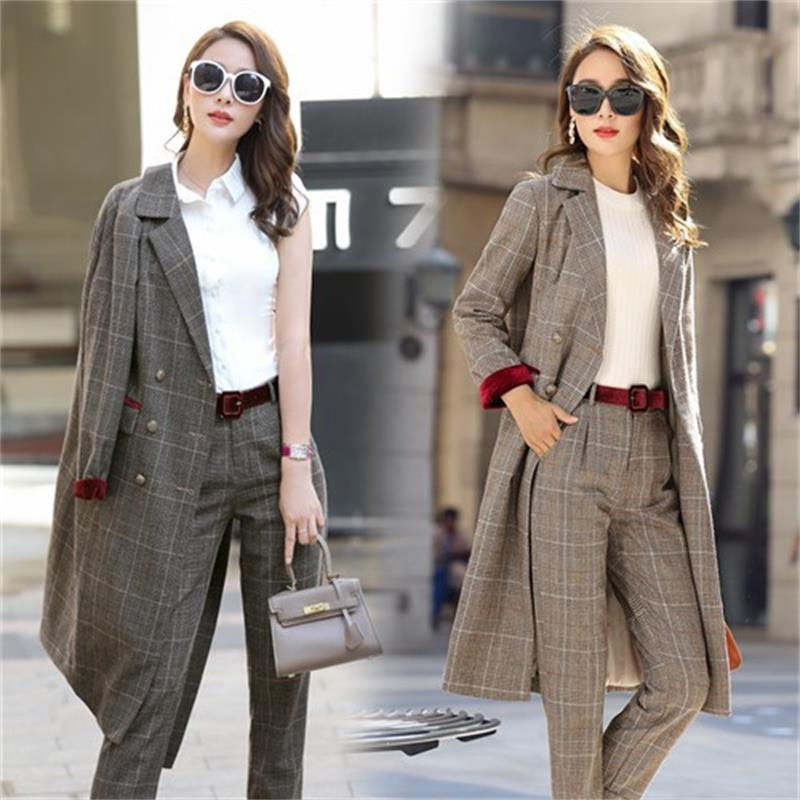 Ms. trousers Set fashion ladies long section of Lattice stripes suit OL professional office lady autumn Blazers two piece set  A