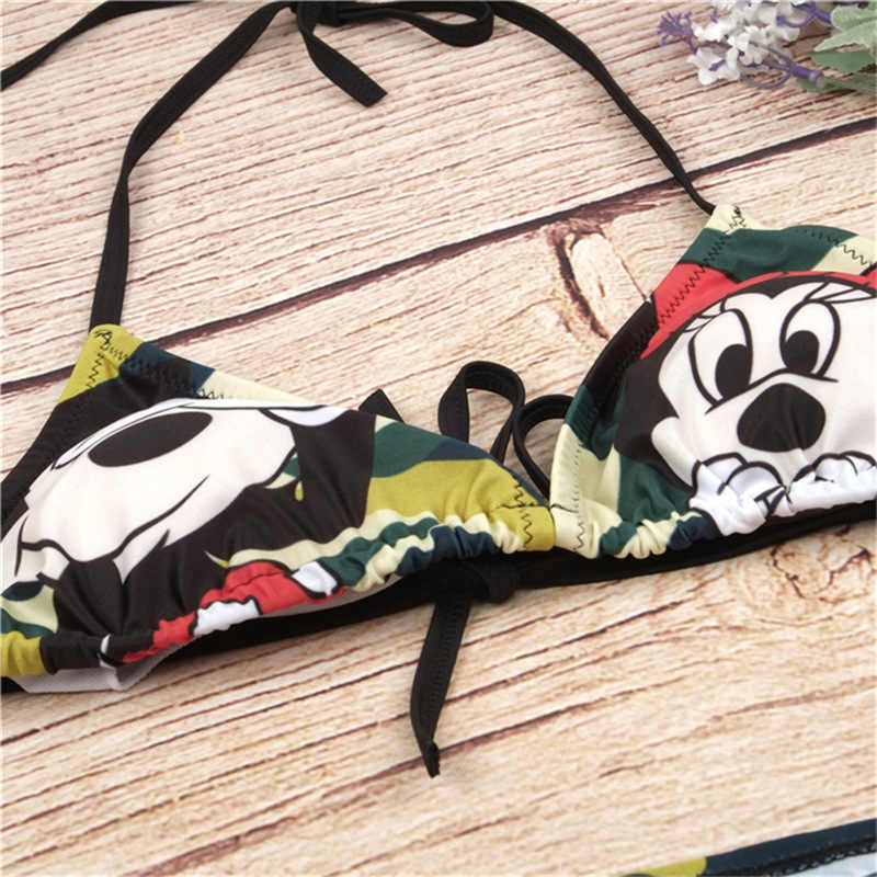 b92ad60d987 ... 2019 Summer Bikinis Bandage Mickey Printed Sexy Bikini Set Women  Swimsuit Split Swimwear Bathing Suit Femme ...