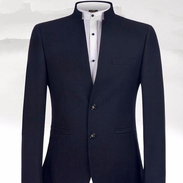 новый дизайн черные мужские костюмы классический костюм с воротником фотография