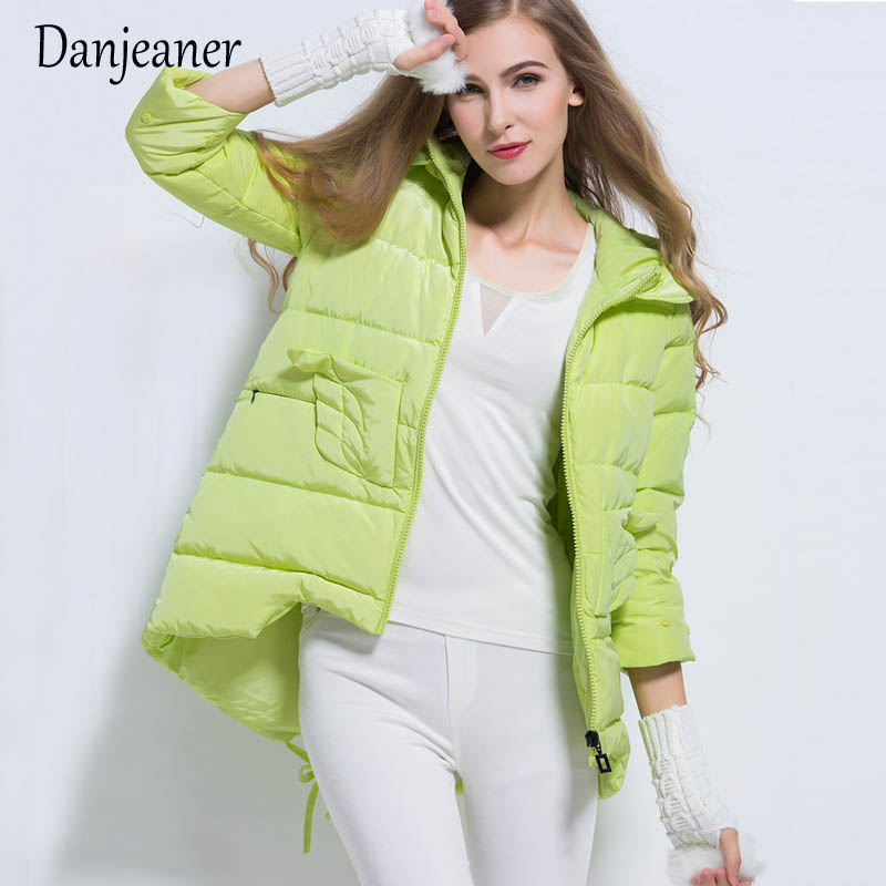 Danjeaner Winter Women Solid Down Jacket 90% Duck Down Hooded Jackets Long Sleeve Warm Slim Coat   Parka   Female Solid Outwear