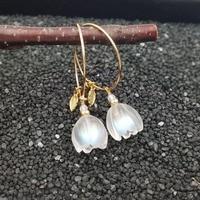 Lii Ji Natural Crystal/Clear Quartz Flower 925 Sterling Silver Gold Color Leaves Hoop Earrings