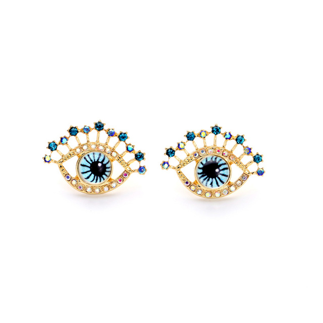 Online Unique Blue Eye Stud Earrings Whole Factory New Design Gold Color Indian Jewelry