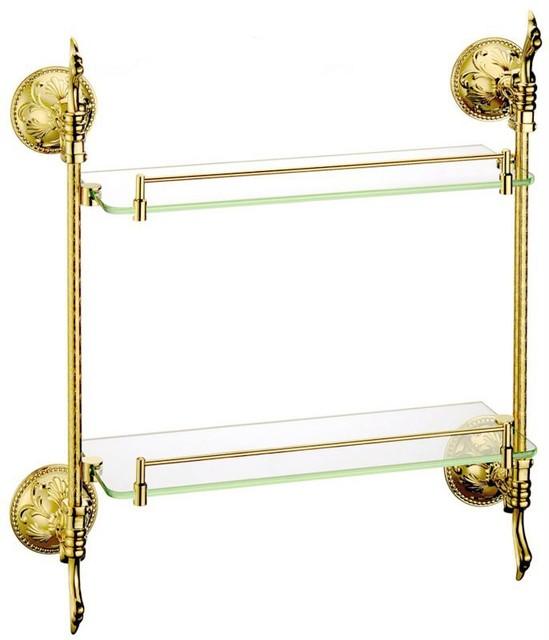 free shipping brass glass shelf double bathroom shelfshelvesgold bathroom fittings - Gold Bathroom Accessories