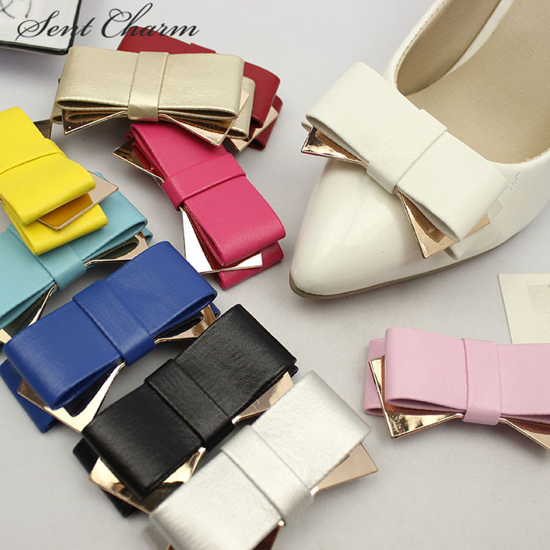1 Pair Fashion Shoe Accessory Black Bow Leather Shoe Clips Charm Decoration For High Heels Loafer 14 Colors